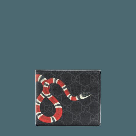 珊瑚蛇印花高级人造帆布钱包