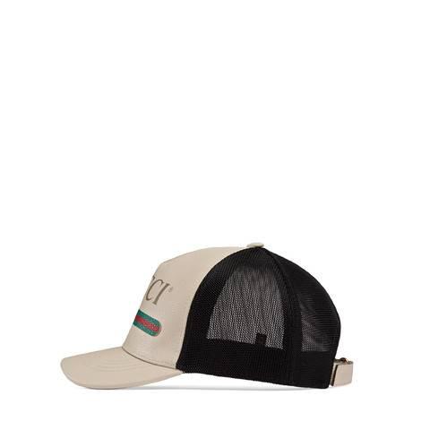 Gucci印花皮革棒球帽