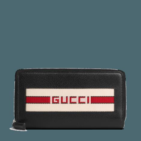Gucci条纹皮革三面拉链钱包