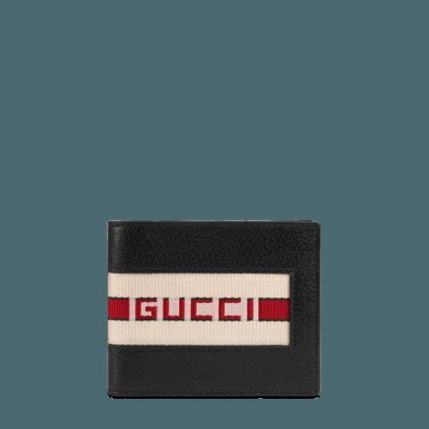 Gucci条纹皮革钱包