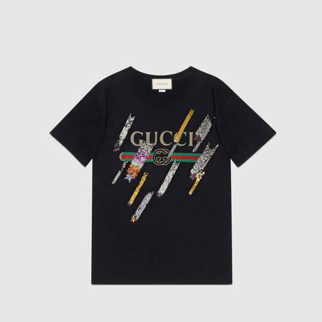 饰流星和Gucci标识印花超大造型T恤
