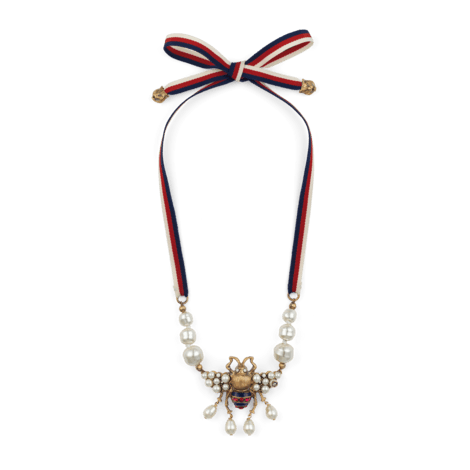 饰水晶珍珠蜜蜂造型项链