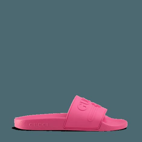 Gucci标识橡胶拖鞋
