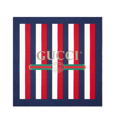 Gucci标识条纹织带真丝围巾