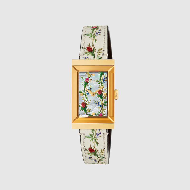 G-Frame Rectangular Floral-Print Watch W/ Leather Strap in White Leather