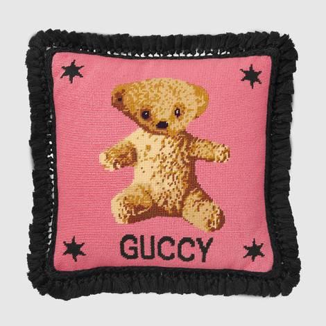 泰迪熊针绣靠垫