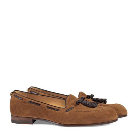 麂皮和蜥蜴皮流苏乐福鞋