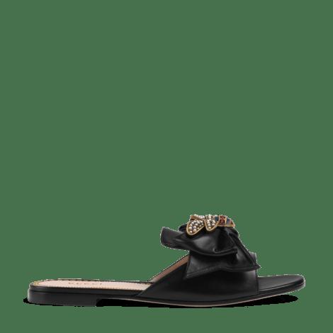 蝴蝶结皮革凉鞋