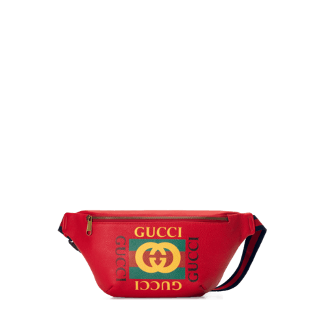 Gucci标识印花皮革腰包