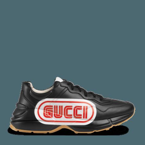 Rhyton系列Gucci印花皮革运动鞋