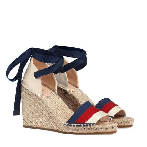 条纹织带厚底草编鞋