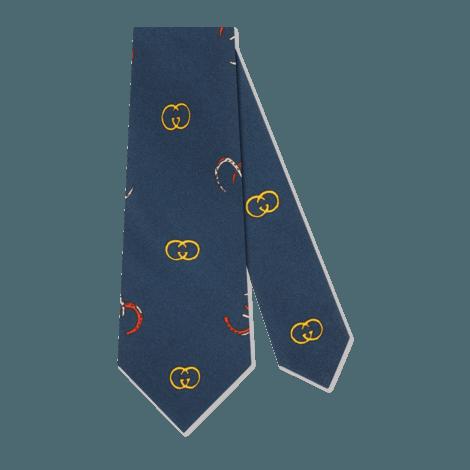 GG马蹄印花真丝领带