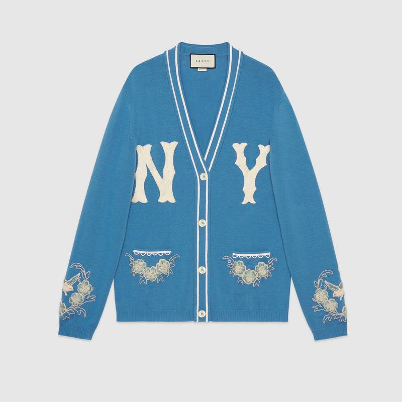 Ny Yankees Mlb V-Neck Wool Cardigan With Flower Appliques in Blue
