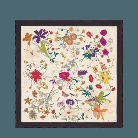 花卉哥特式印花真丝围巾