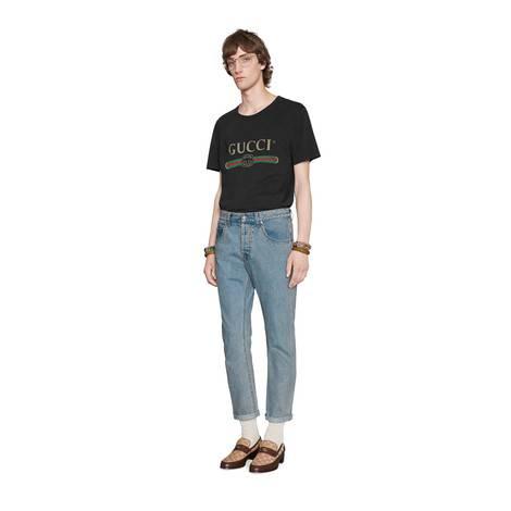 男士Gucci标识印花超大造型T恤