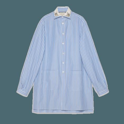 条纹超大棉质衬衫