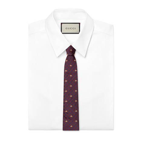 GG蜜蜂图案真丝领带