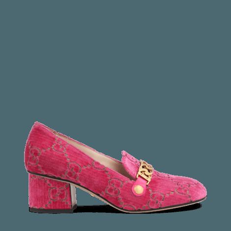 Sylvie系列GG天鹅绒中跟浅口鞋