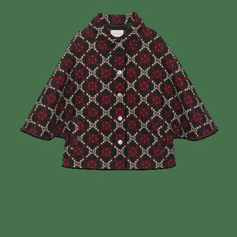 GG菱形羊毛斗篷大衣