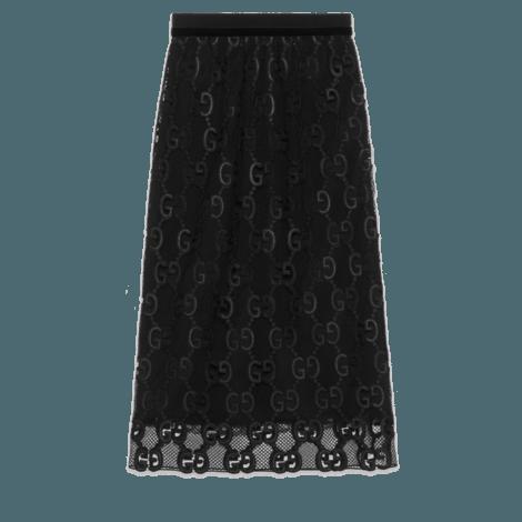 GG绳结编织皮革半身裙