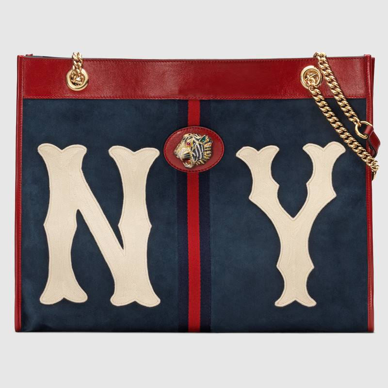 Linea Rajah Large Suede Tote Bag With Ny Yankees Mlb Patch in Blue