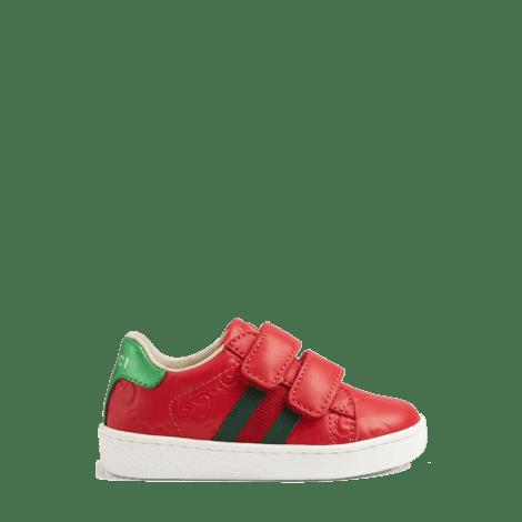 幼儿Ace系列Gucci Signature皮革运动鞋