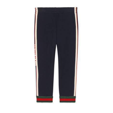 儿童Gucci提花滚边长裤