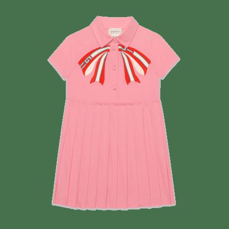 儿童蝴蝶结府绸连衣裙