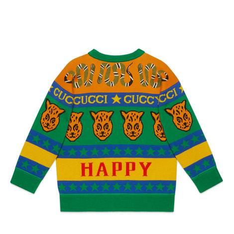 儿童饰标志性符号图案混纺毛衣