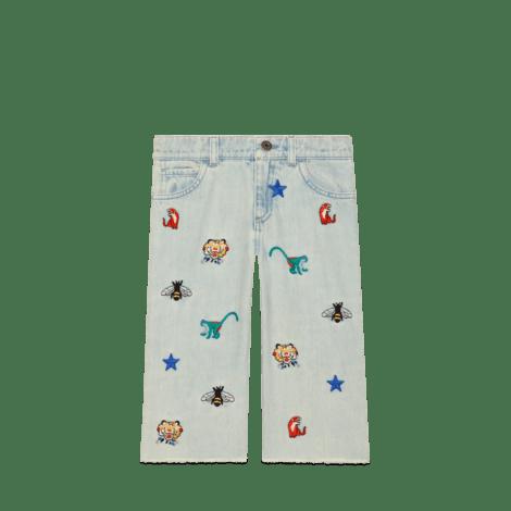 儿童刺绣牛仔裤