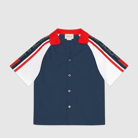 儿童Gucci条纹府绸衬衫
