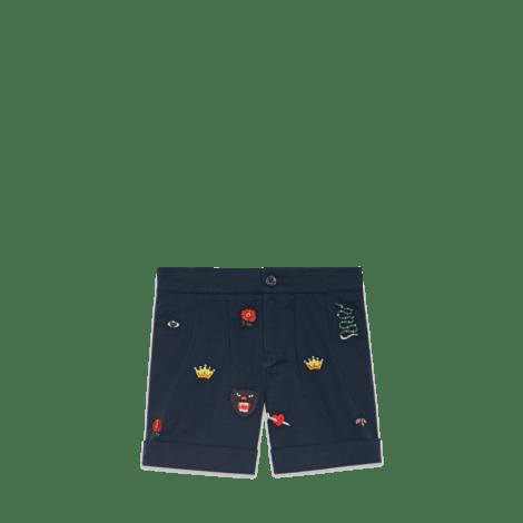儿童刺绣百慕大短裤