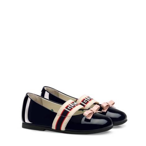 幼儿Gucci条纹漆皮芭蕾舞鞋