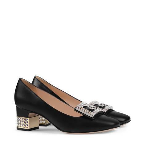 水晶G皮革中跟浅口鞋