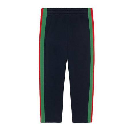 儿童条纹织带慢跑长裤