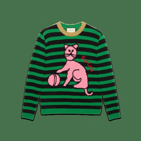 猫和棒球羊毛毛衣