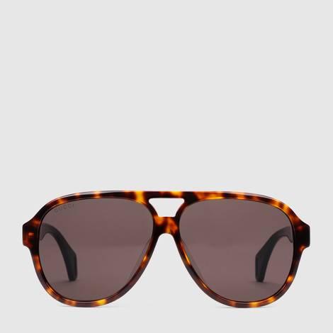 贴合设计Gucci条纹飞行员太阳眼镜