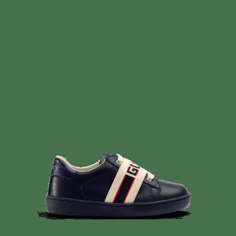 幼儿Gucci条纹皮革运动鞋