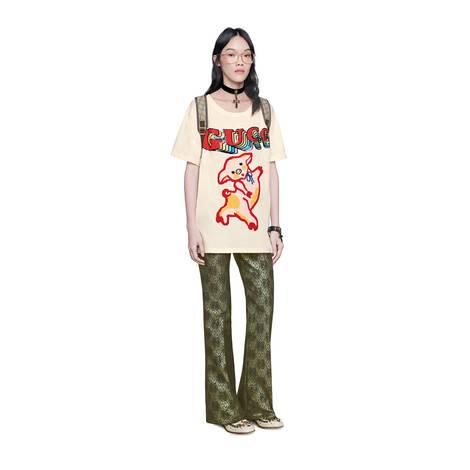 女士小猪图案超大造型棉质T恤