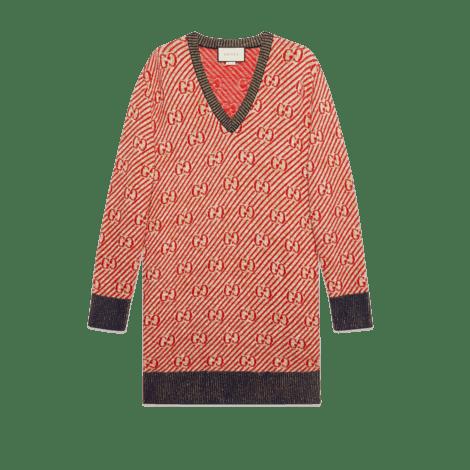 超大造型GG条纹羊毛毛衣