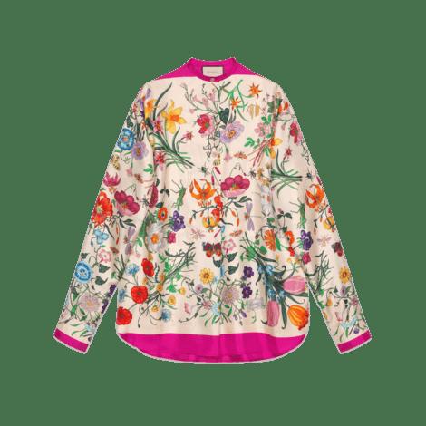 花卉印花超大造型衬衫