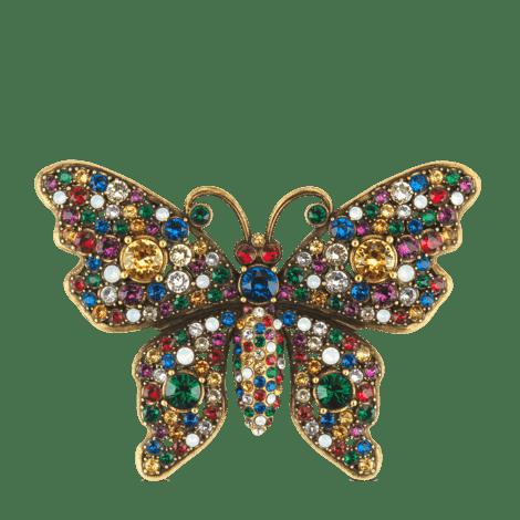 水晶饰钉蝴蝶胸针