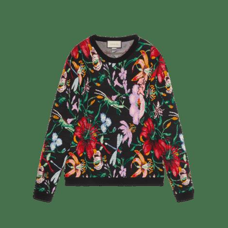 亮片和珠粒刺绣花卉图案毛衣