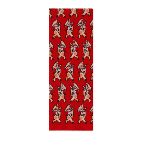 小猪图案羊毛围巾