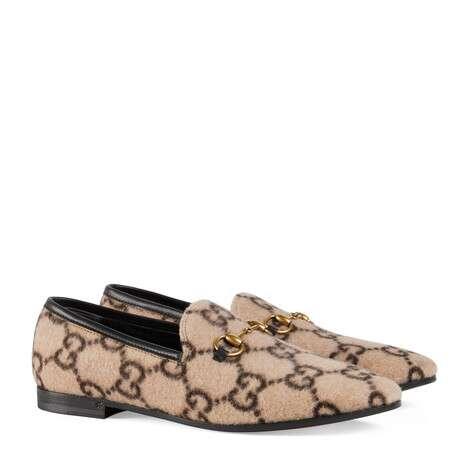 Gucci Jordaan系列女士GG羊毛乐福鞋