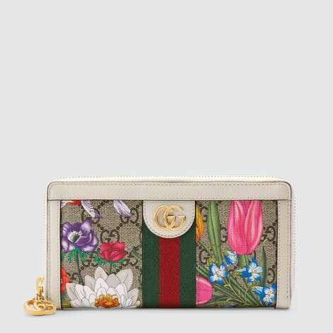 Ophidia系列GG花卉全拉链式钱包