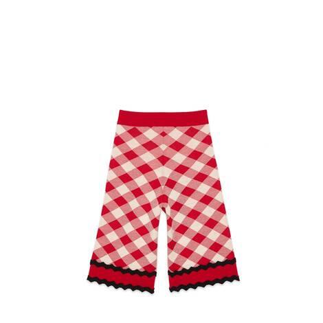 儿童格纹羊毛长裤