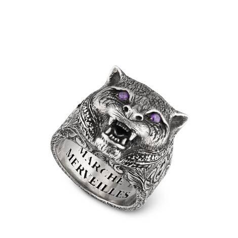 古驰花园猫科动物头像戒指