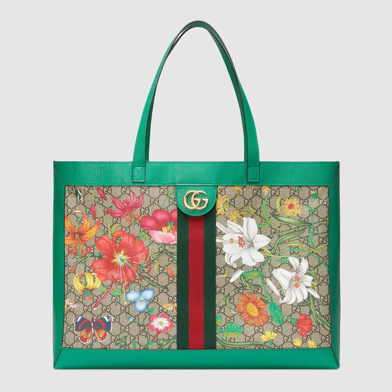 Gucci Totes ONLINE EXCLUSIVE OPHIDIA GG FLORA MEDIUM TOTE