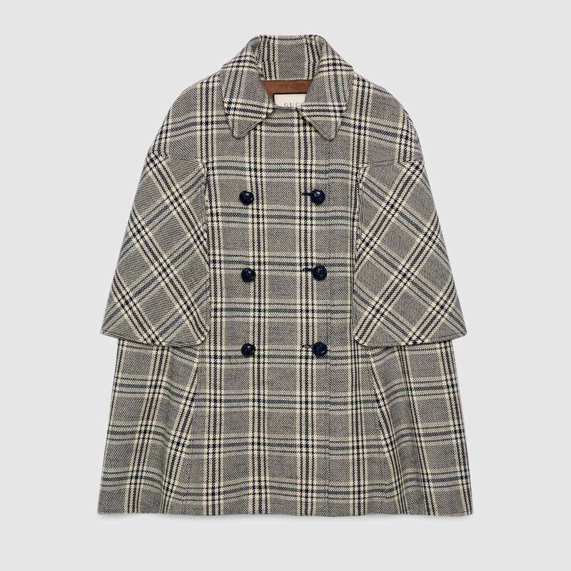 Gucci Coats CHECK WOOL CAPE COAT